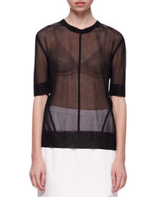 Elsa Sheer Short-Sleeve Top   Elsa Sheer Short-Sleeve Top