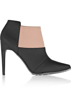 Tibi Kirby rubberized-leather and scuba-jersey ankle boots