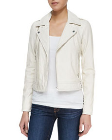 Caldine Zip-Front Leather Jacket   Caldine Zip-Front Leather Jacket