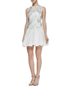 Sleeveless Embellished Illusion Cocktail Dress   Sleeveless Embellished Illusion Cocktail Dress