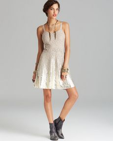 Free People Dress - Foil Ombre Lace Fit and Flare