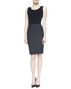 Escada Pencil Skirt with Slit, Gray