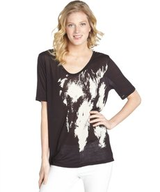 Three Dots black jersey 'Sasshay' scoop neck t-shirt