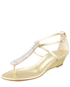 Strass T-Strap Wedge Sandal, Gold   Strass T-Strap Wedge Sandal, Gold