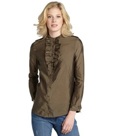 Burberry olive green stretch knit ruffle collar blouse