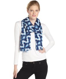 Calvin Klein navy and white ikat print scarf