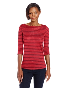 Three Dots Women's Boatneck 3/4 Sleeve Top with Side Slits