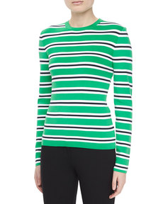 Michael Kors Long-Sleeve Striped Knit Top