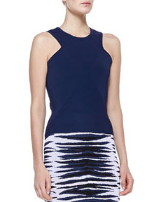 Ribbed Knit Diamond Shell, Indigo   Ribbed Knit Diamond Shell, Indigo