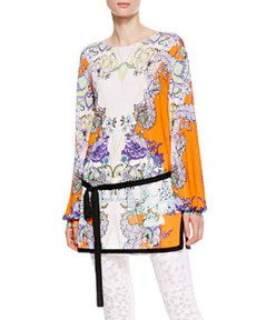 Boat-Neck Floral Tunic, Orange/Violet   Boat-Neck Floral Tunic, Orange/Violet