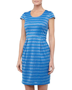 Marc New York by Andrew Marc Metallic Striped Cap-Sleeve Dress, Blue Jay