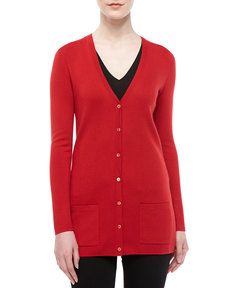 Michael Kors Long Cashmere Cardigan, Crimson