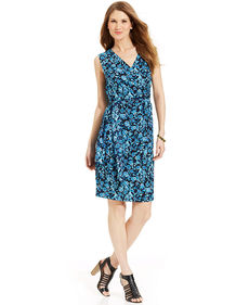 Jones New York Sleeveless Floral-Print Faux-Wrap Dress