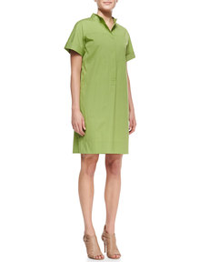 Lafayette 148 New York Phoebe Short-Sleeve Shirtdress w/Multiple Pockets