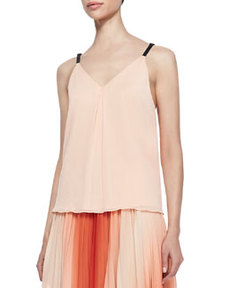 Alice + Olivia Leather-Strap Chiffon Tank