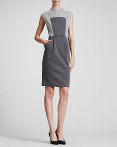 Carmen Marc Valvo Boucle & Knit Sleeveless Dress