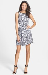 kensie 'Overlapped Ferns' Print Fit & Flare Dress