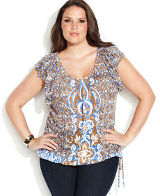 INC International Concepts Plus Size Sleeveless Printed Ruffle Top