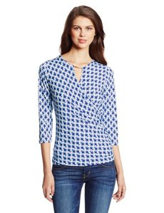 Jones New York Women's Three Quarter Sleeve Fauz Drape Wrap Top