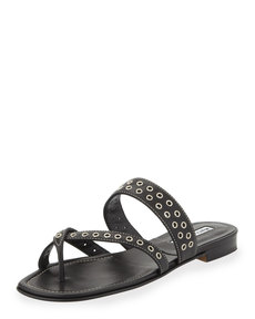 Manolo Blahnik Susaocc Leather Grommet Flat Thong Sandal, Black