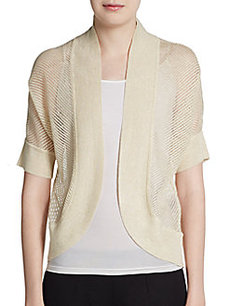 Ellen Tracy Short Sleeve Open-Front Shrug