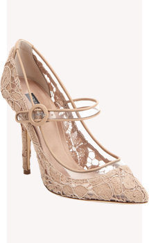 Dolce & Gabbana Transparent Lace Mary Jane Pumps