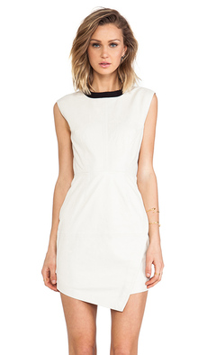 Trina Turk Dalia Leather Dress in Ivory
