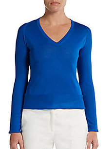 Calvin Klein Collection Lyle Wool/Cashmere/Silk V-Neck Pullover