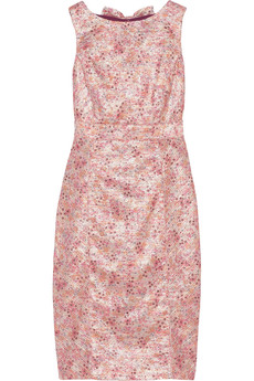 Badgley Mischka Open-back metallic tweed dress