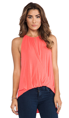 Michael Stars Sleeveless Keyhole High Low Halter Top in Peach
