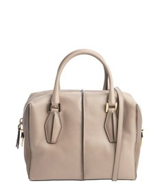 Tod's grey and brown lambskin small convertible tote
