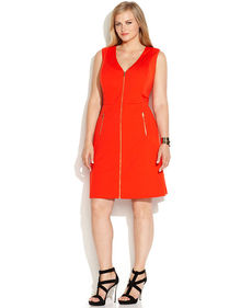 Calvin Klein Plus Size Zip-Front Sleeveless Dress
