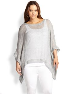 Eileen Fisher, Sizes 14-24 Boatneck Poncho Top