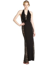A.B.S. by Allen Schwartz black stretch jersey and lace cowl neck sequin illusion gown