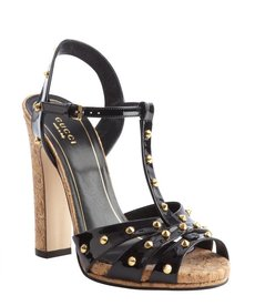 Gucci black patent leather studded 'Jacquelyne' t-strap sandals