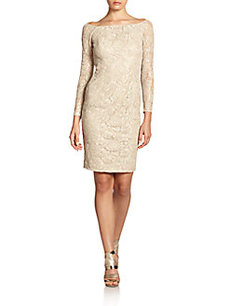 Carmen Marc Valvo Beaded Lace Off-The-Shoulder Dress