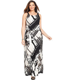 Alfani Plus Size Printed Blouson Maxi Dress
