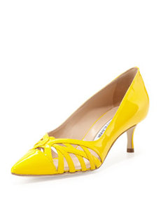 Cutout Vamp Pump, Yellow   Cutout Vamp Pump, Yellow