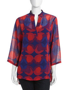 Isaac Mizrahi Split-Front Neck Three-Quarter Sleeve Tunic