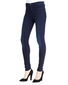 Mid-Rise Faded Stocking Jeans, Darkness   Mid-Rise Faded Stocking Jeans, Darkness