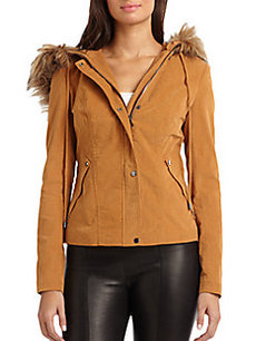 Robert Rodriguez Corduroy Faux Fur-Trimmed Hooded Jacket