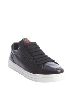 Prada Sport black leather lace-up flatform sneakers
