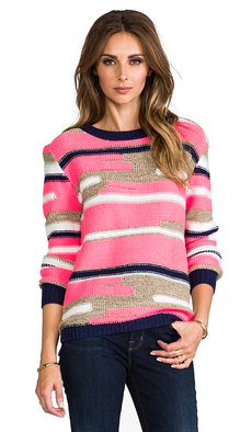Trina Turk Disah Merina/Nylon Sweater in Pink