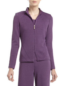 St. John Santana Knit Mock-Neck Fitted Zip Jacket, Plum
