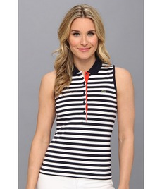 Lacoste Sleeveless Stripe Stretch Pique Polo