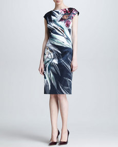 Escada Amaryllis-Print Cap-Sleeve Dress