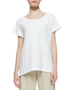 Joan Vass Easy Jersey One-Pocket Tee, White