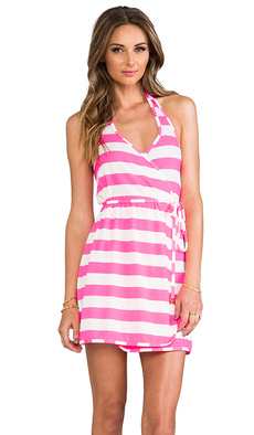 Juicy Couture Sixties Stripe Wrap Cover Up Dress in Pink