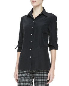 Michael Kors Faille Button-Front Shirt, Black