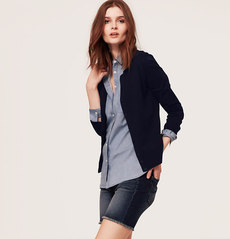 Petite Hidden Placket Cotton Cardigan